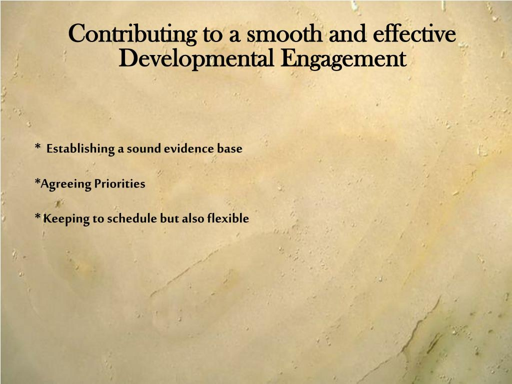 Contributing to a smooth and effective Developmental Engagement