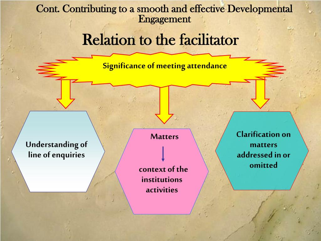 Cont. Contributing to a smooth and effective Developmental Engagement