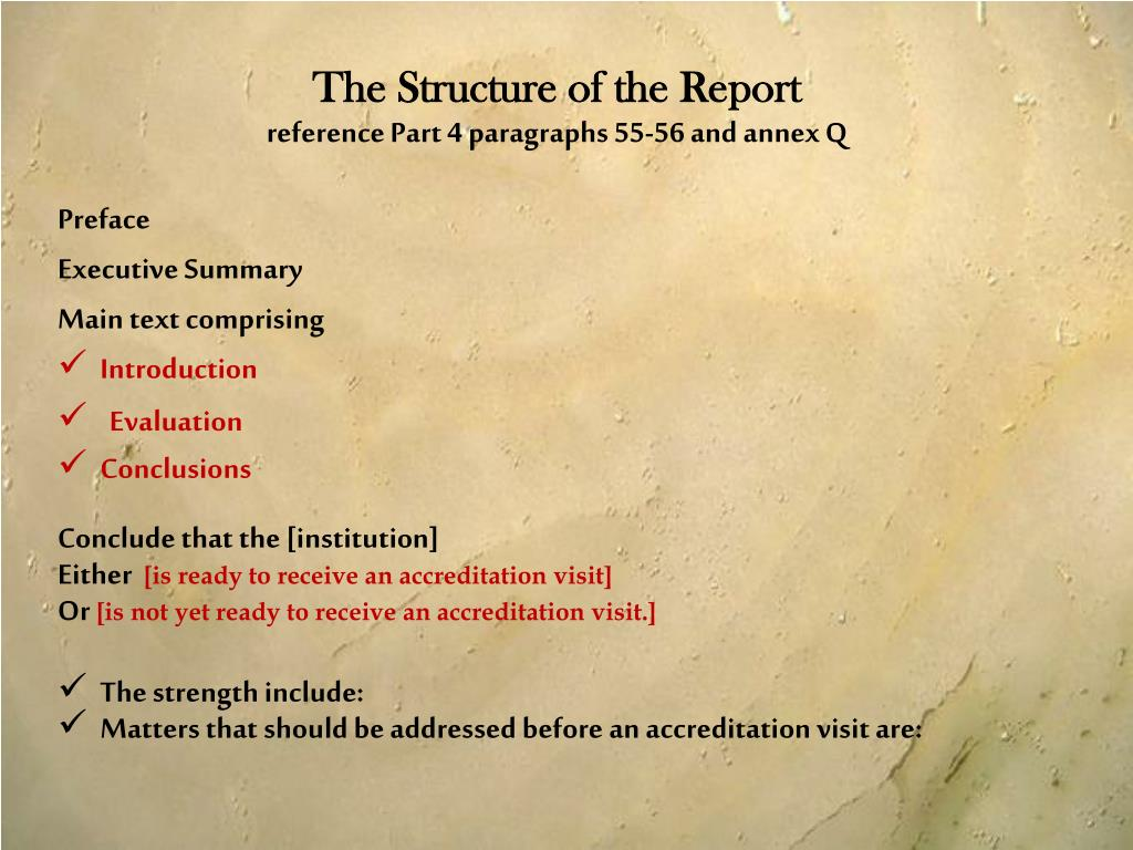The Structure of the Report
