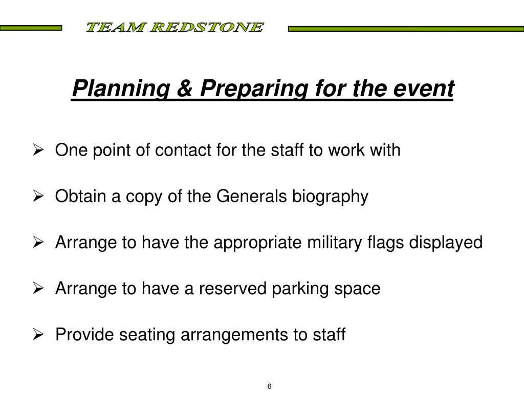 Planning & Preparing for the event