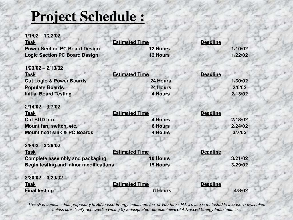 Project Schedule :
