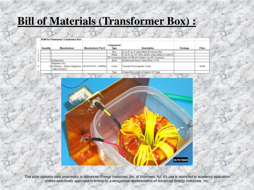 Bill of Materials (Transformer Box) :