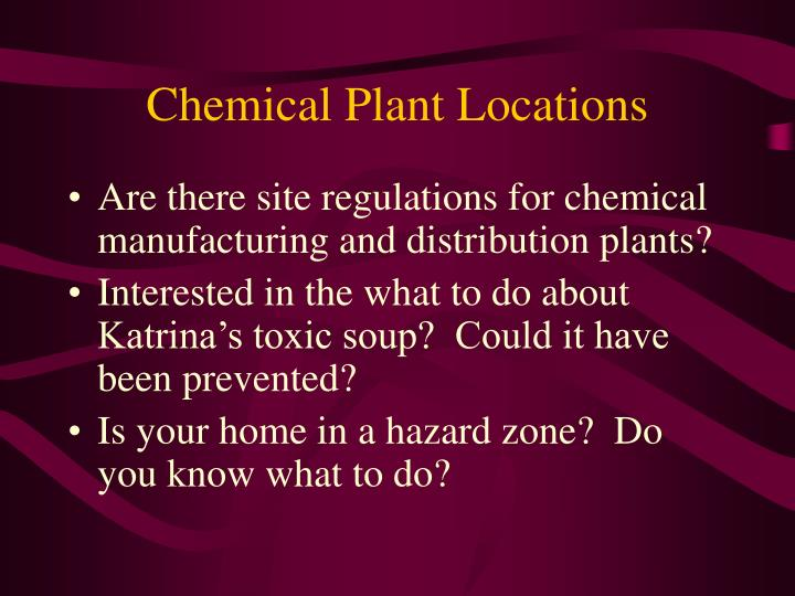 Chemical plant locations