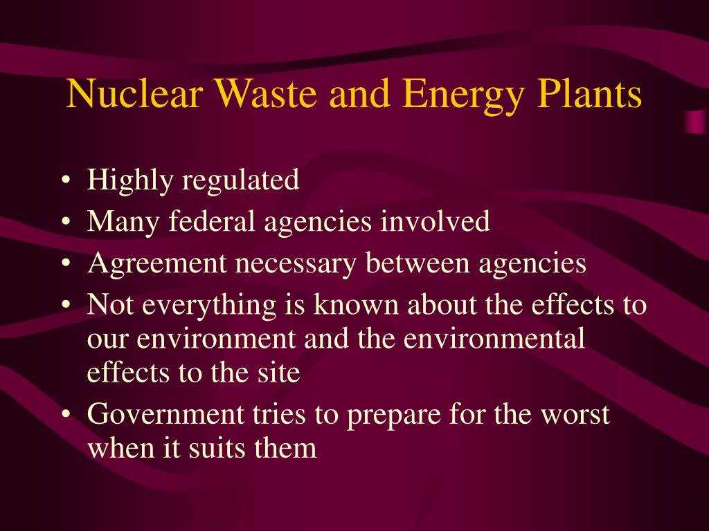 Nuclear Waste and Energy Plants