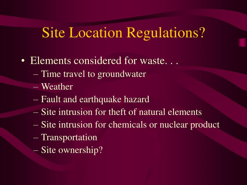 Site Location Regulations?