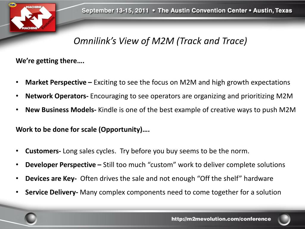 Omnilink's View of M2M (Track and Trace)