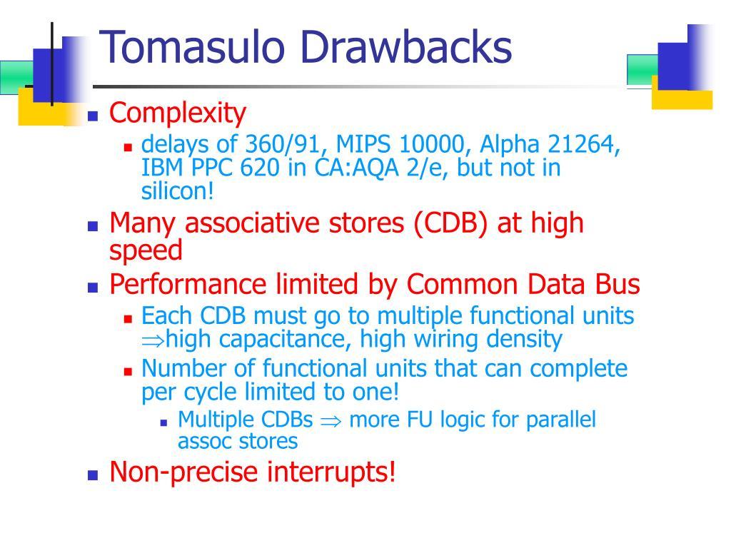 Tomasulo Drawbacks