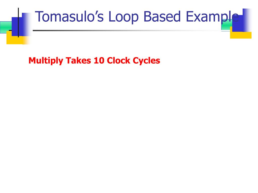 Tomasulo's Loop Based Example