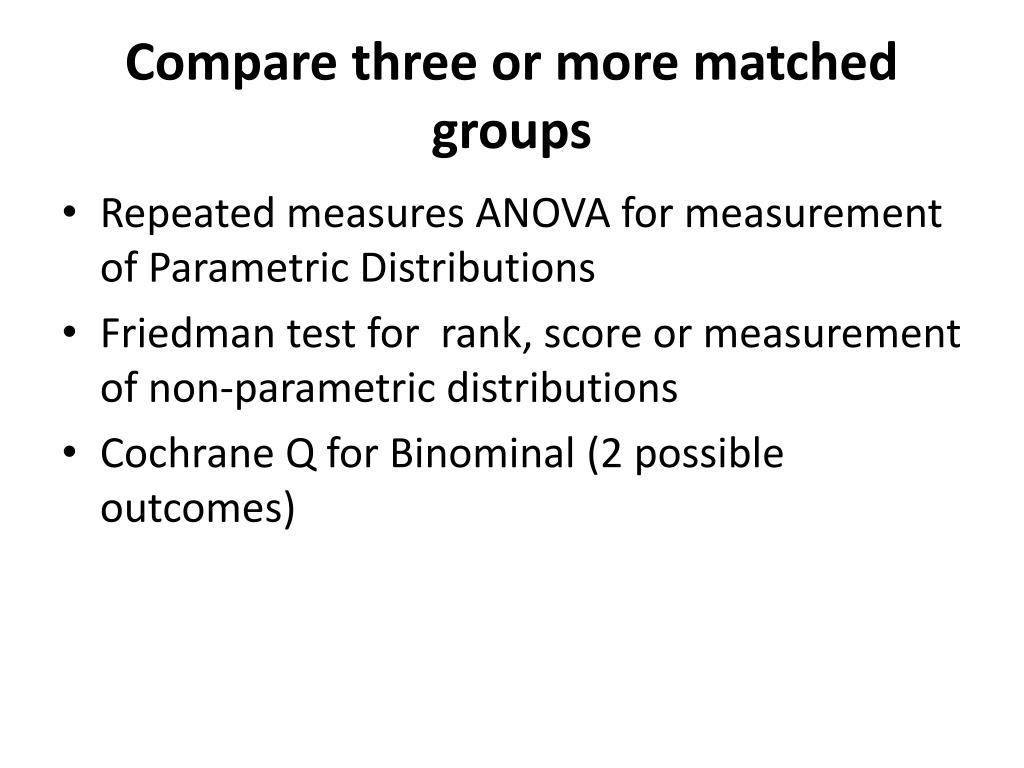 Compare three or more matched groups