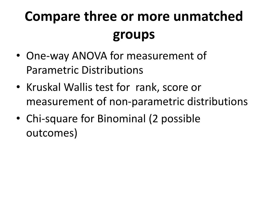 Compare three or more unmatched groups