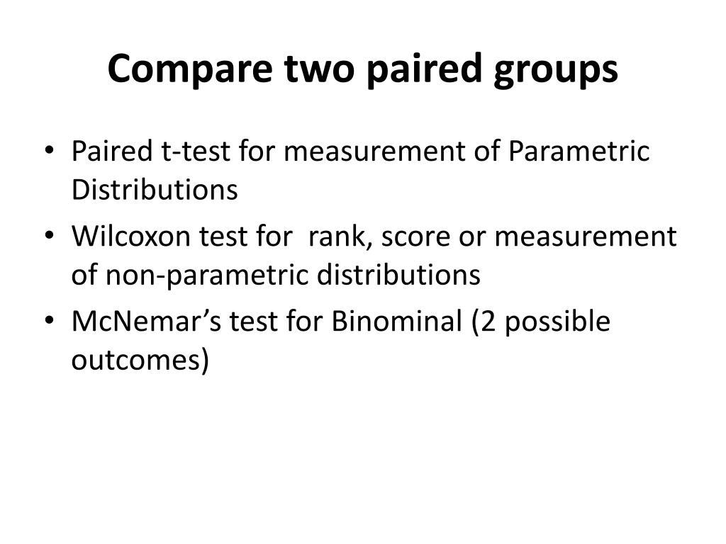 Compare two paired groups