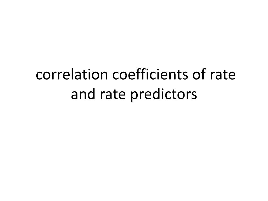 correlation coefficients of rate and rate predictors