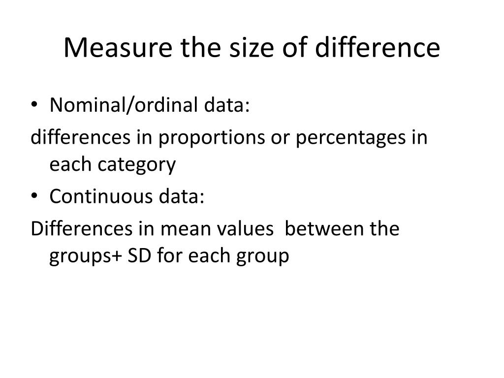 Measure the size of difference