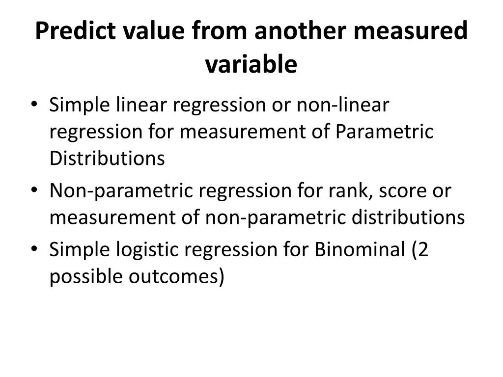 Predict value from another measured variable