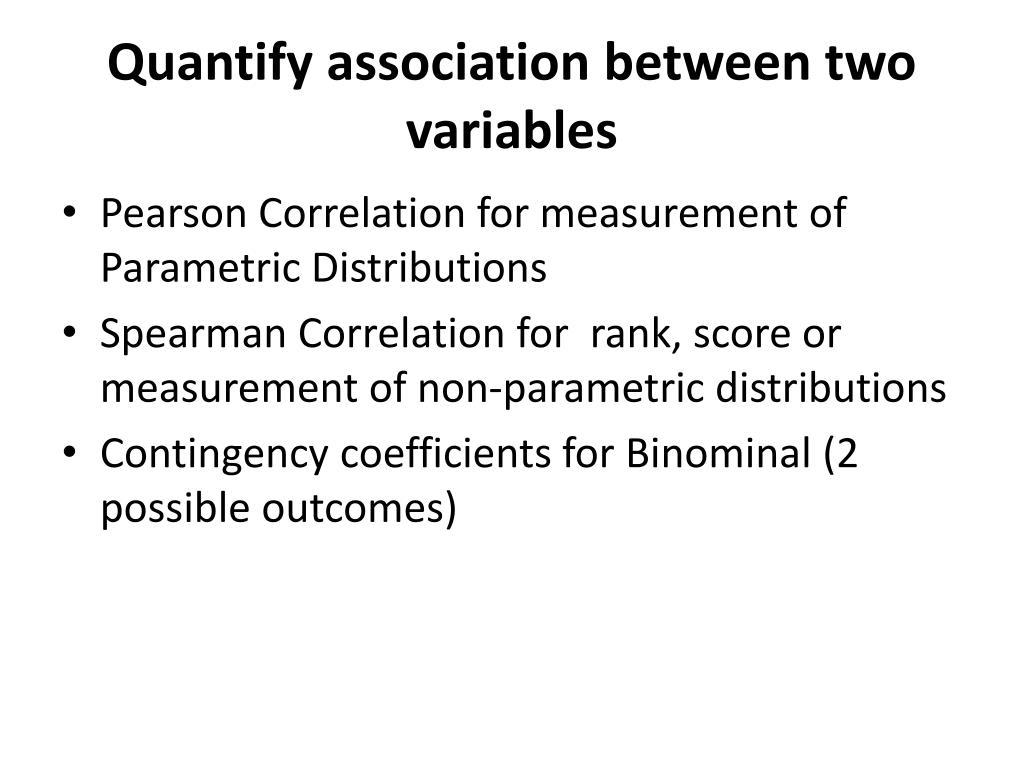 Quantify association between two variables