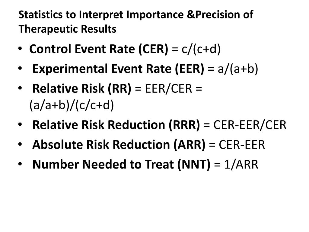 Statistics to Interpret Importance &Precision of Therapeutic Results