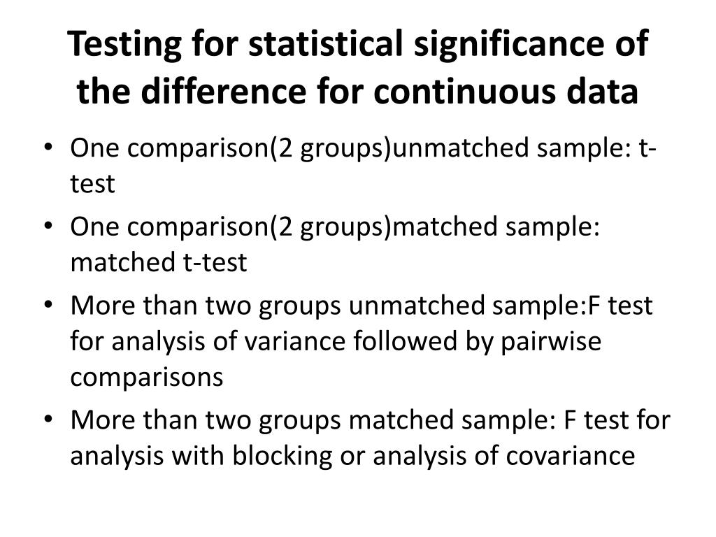 Testing for statistical significance of the difference for continuous data