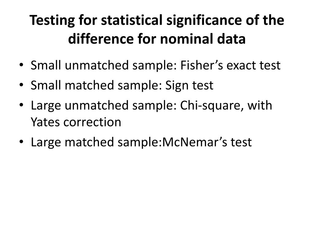 Testing for statistical significance of the difference for nominal data
