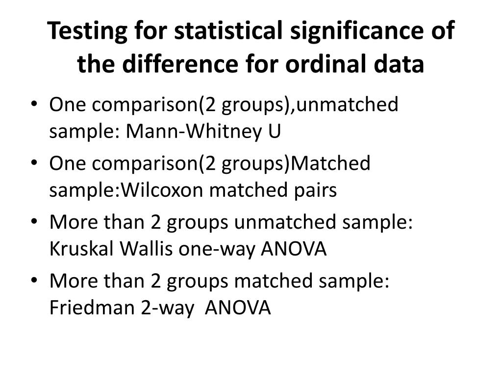 Testing for statistical significance of the difference for ordinal data