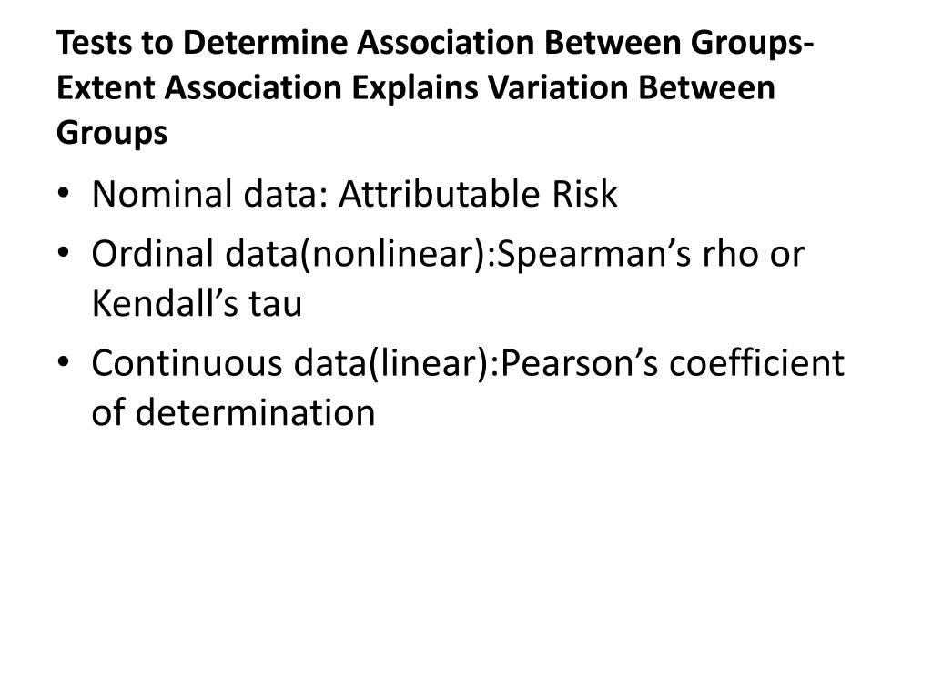 Tests to Determine Association Between Groups- Extent Association Explains Variation Between Groups