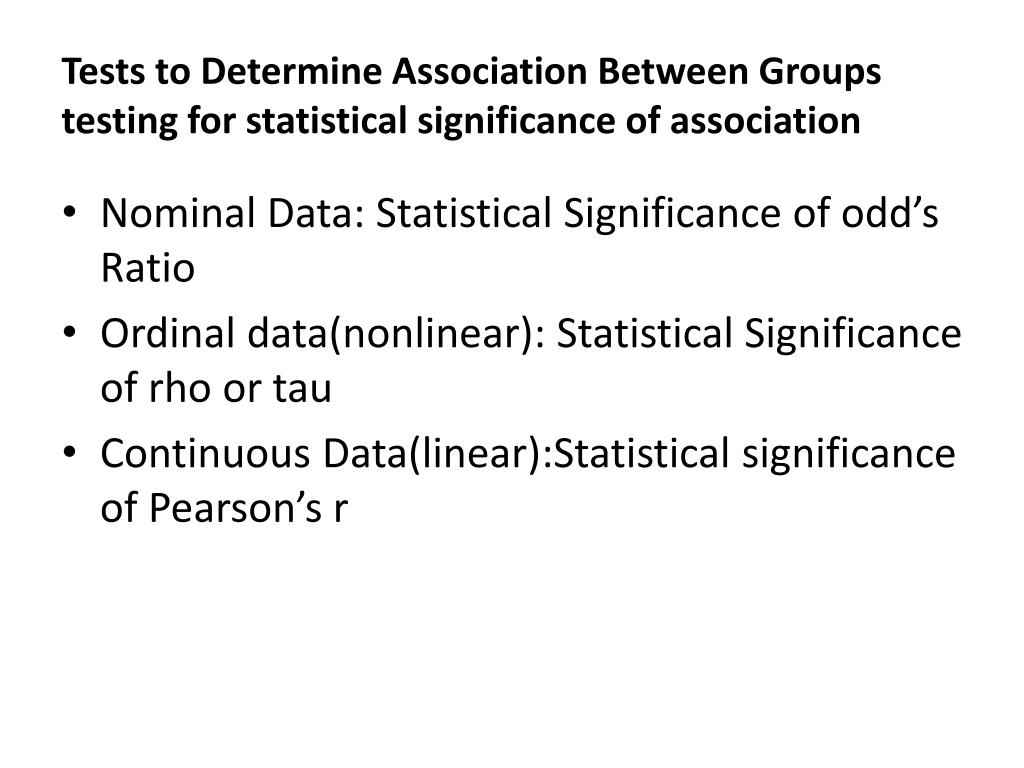 Tests to Determine Association Between Groups testing for statistical significance of association