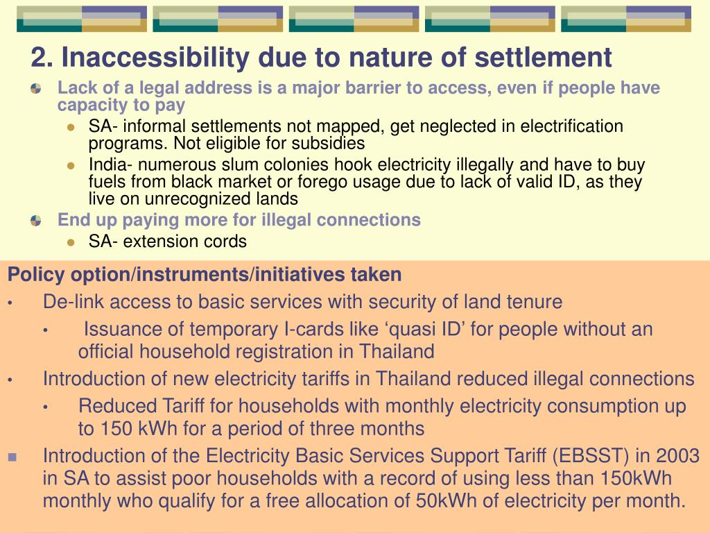 2. Inaccessibility due to nature of settlement