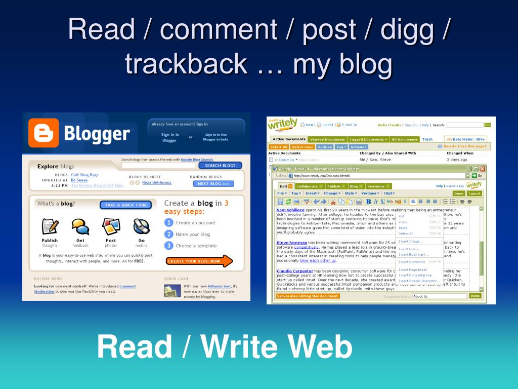 Read / comment / post / digg / trackback … my blog