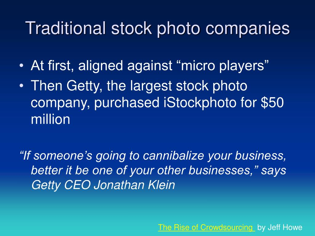Traditional stock photo companies
