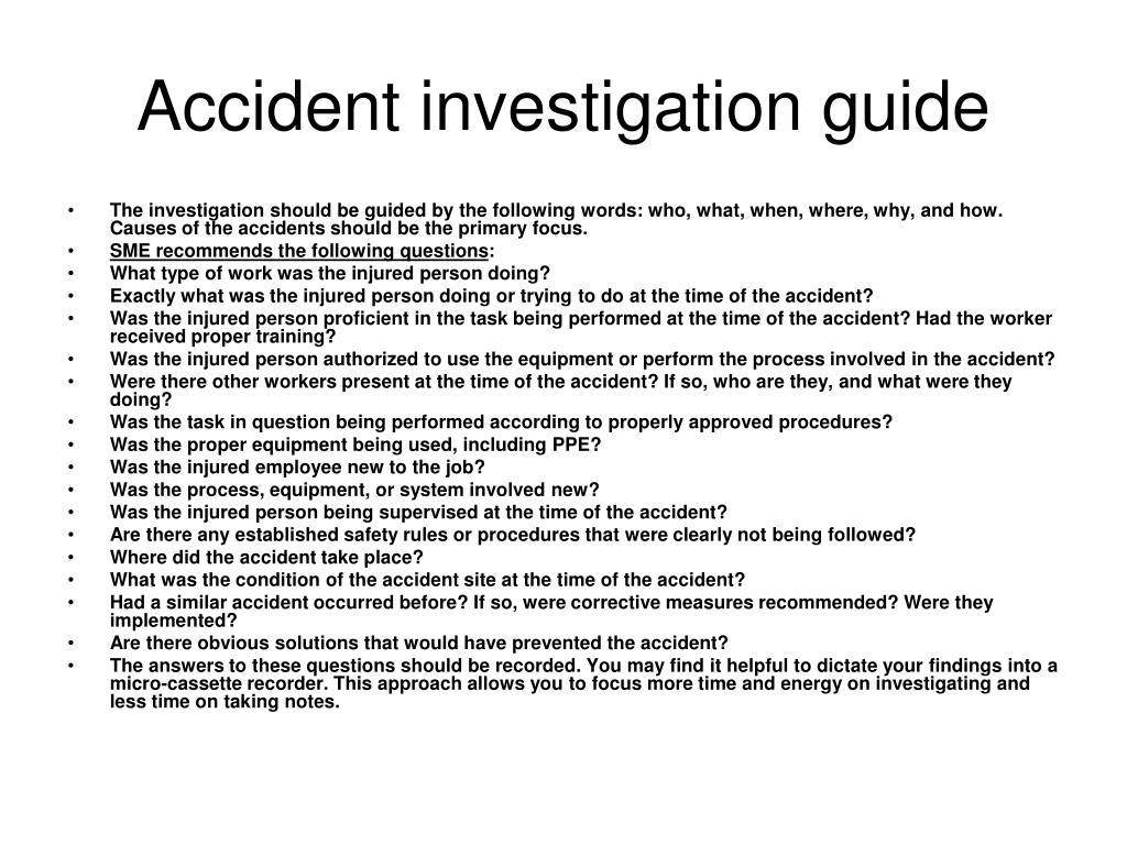 Accident investigation guide