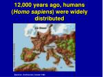 12 000 years ago humans homo sapiens were widely distributed