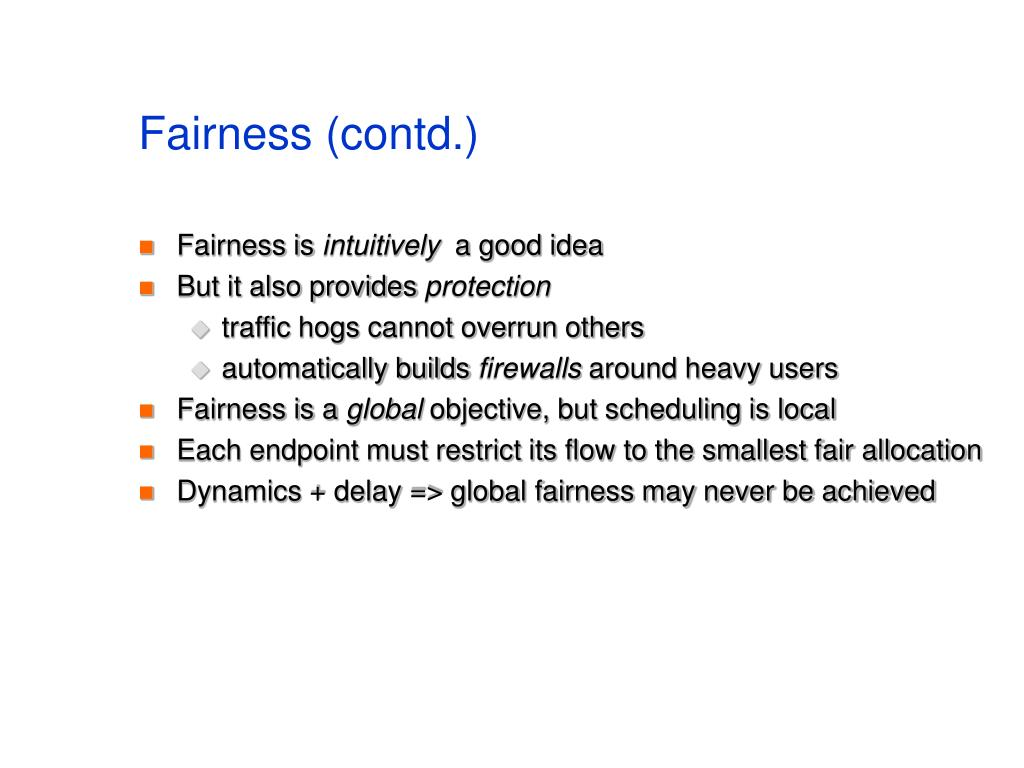 Fairness (contd.)