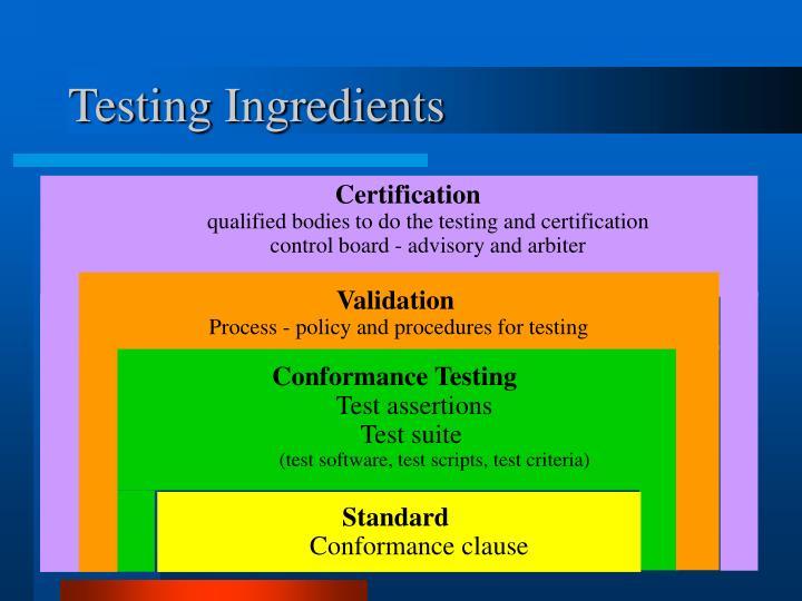 Testing Ingredients