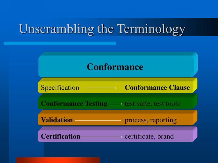Unscrambling the terminology