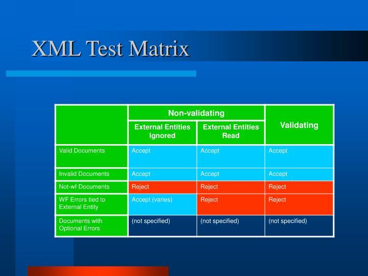 XML Test Matrix