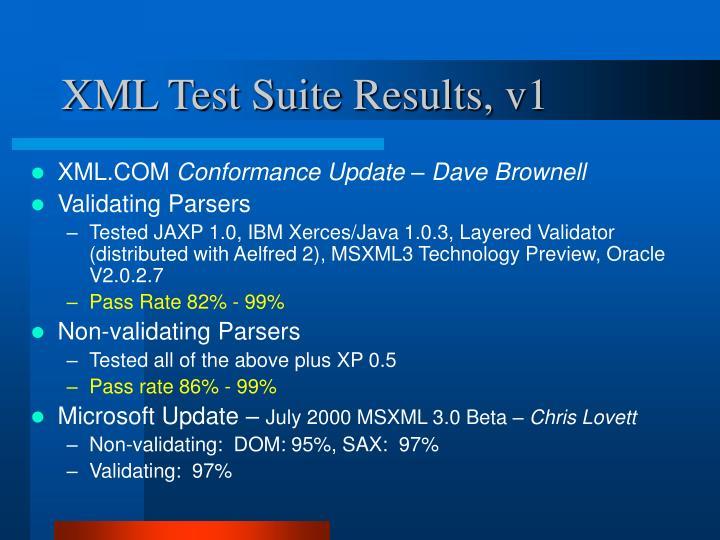 XML Test Suite Results, v1