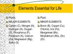 elements essential for life