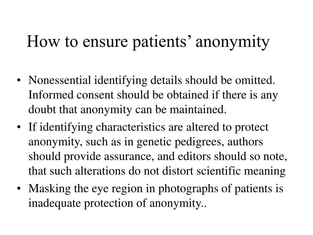 How to ensure patients' anonymity