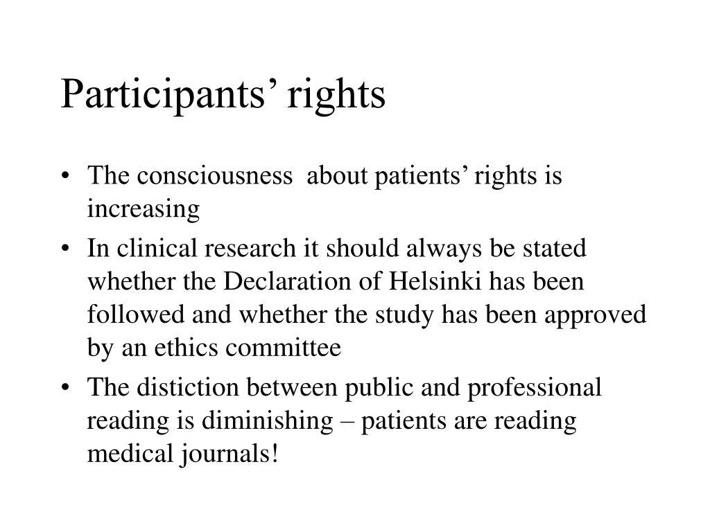 Participants' rights