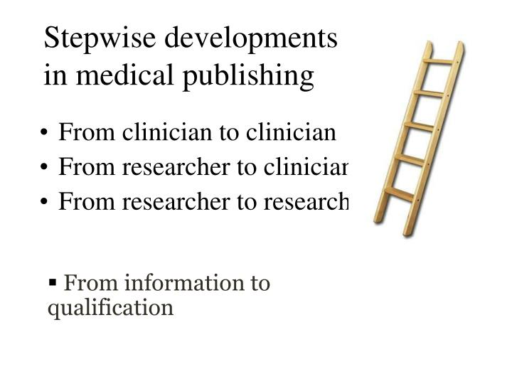 Stepwise developments in medical publishing