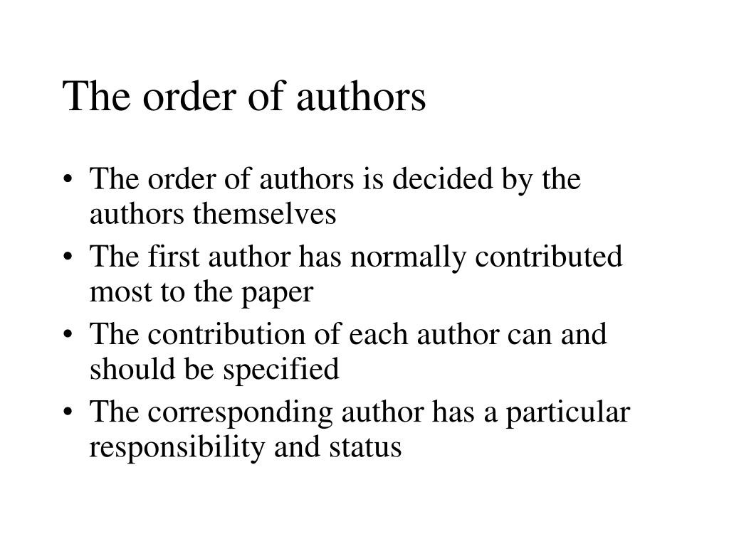 The order of authors