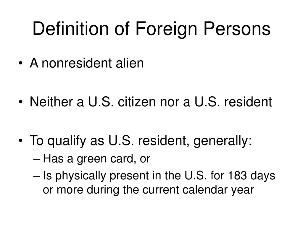 Definition of Foreign Persons
