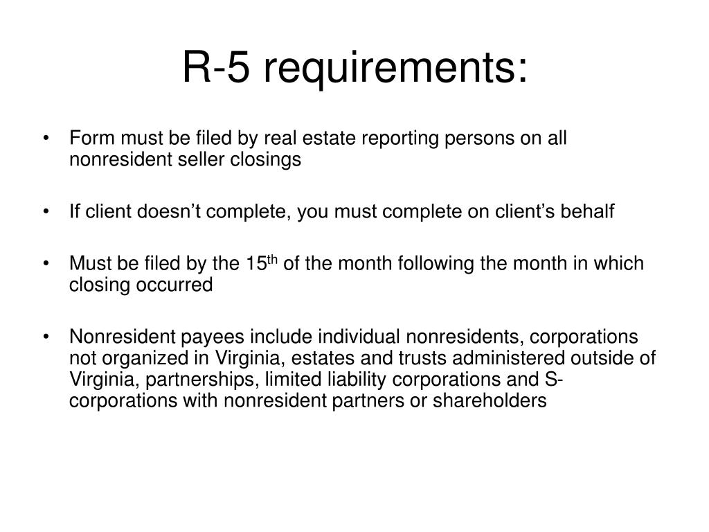 R-5 requirements: