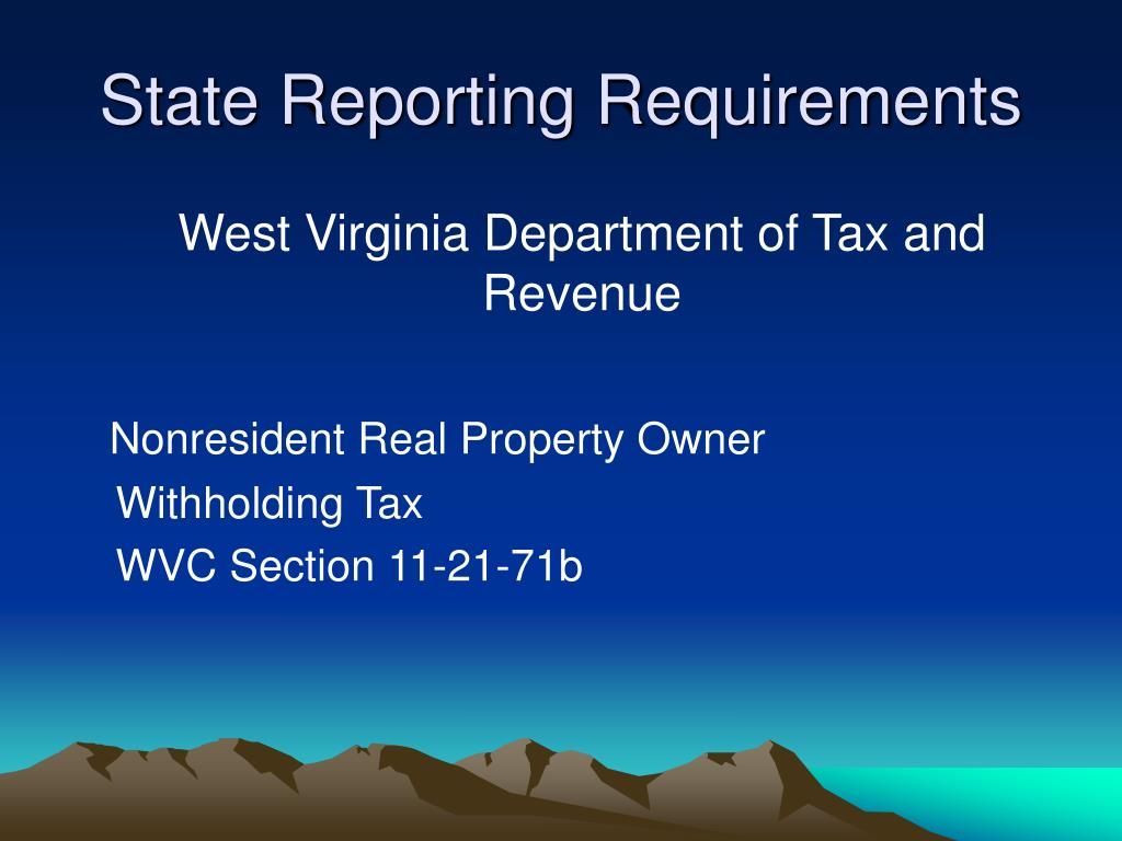 State Reporting Requirements