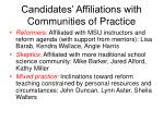 candidates affiliations with communities of practice