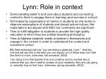 lynn role in context