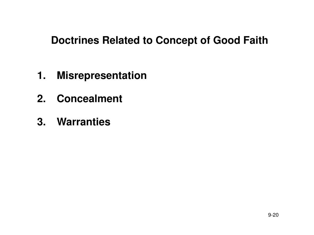 Doctrines Related to Concept of Good Faith