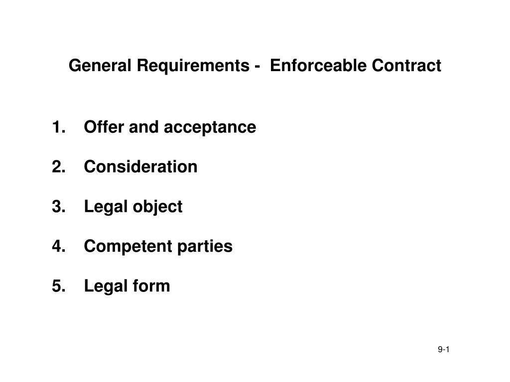 Contract Requirements | Ppt General Requirements Enforceable Contract Powerpoint