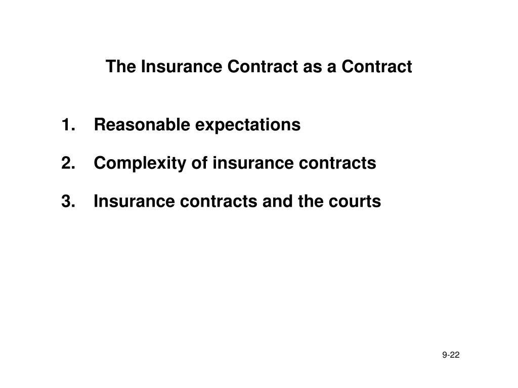 The Insurance Contract as a Contract