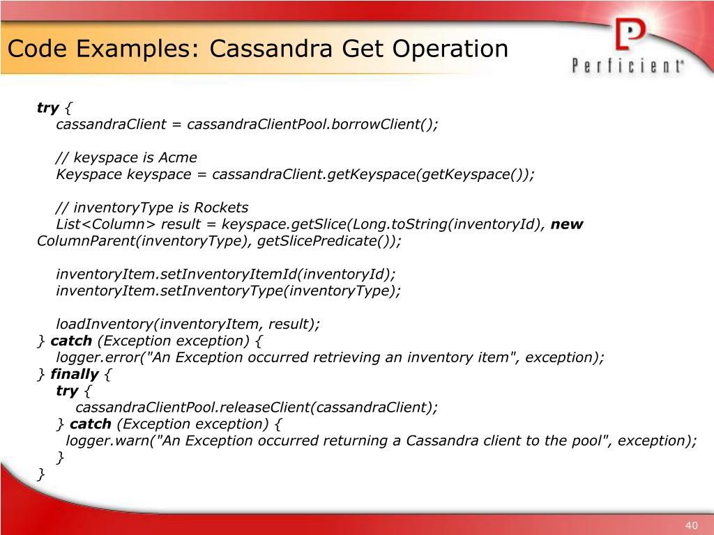 Code Examples: Cassandra Get Operation