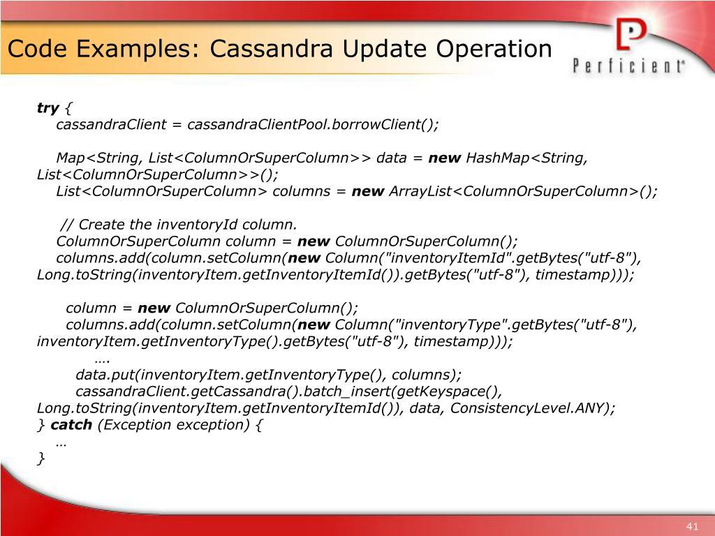 Code Examples: Cassandra Update Operation